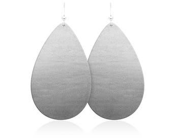 Silver leather earrings, silver teardrop earrings, leather earrings, statement earrings