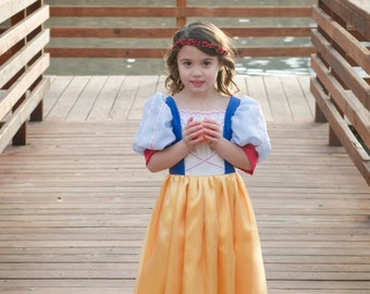 Cute Snow White Costume Gown princess, gold, blue, white, red, apple, dress-up, pretend play, halloween, christmas, birthday dress, ballgown