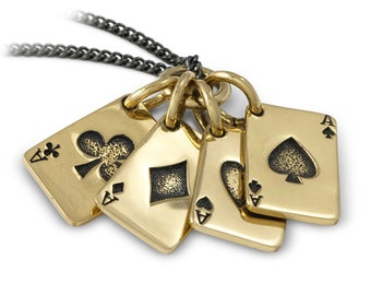 Poker Necklace - Playing Cards Necklace - Bronze Aces Pendant