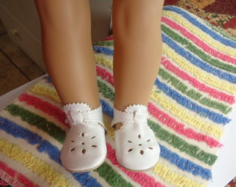 "White Leather Doll Shoes for 18 inch Dolls- Shoes fit 18"" Dolls like American Girl"