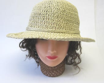 Natural Straw Hat Boater Millinery Womens