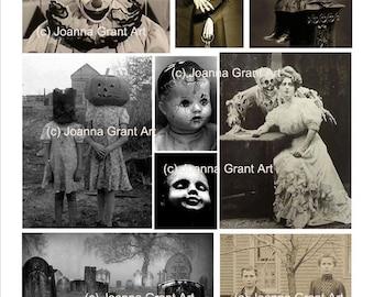 CREEPY HALLOWEEN Digital INSTANT Download Collage Sheet Mixed Media Art