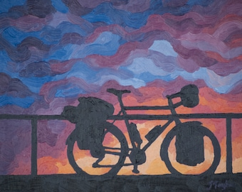 "Bike Touring Art Print ~ Cycling Art Print ~ ""Stopping for the Night"" ~ Road Biking Poster ~ Biking Painting Reproduction"