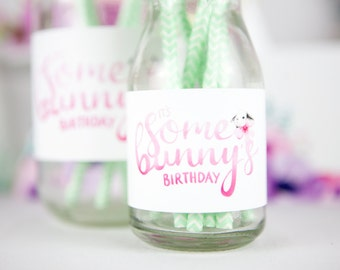 """Party printables """"it's Some Bunny's birthday"""" printable milk bottle labels - watercolour bunny party decor for girls first birthday party"""