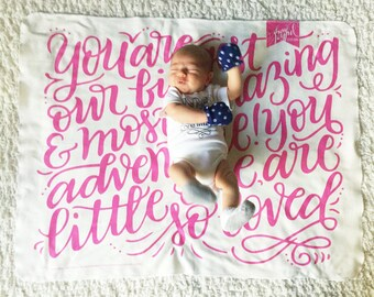 Swaddle - Custom color - You are our greatest adventure - Organic cotton & fleece baby swaddle