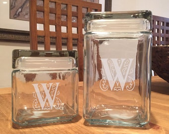 Personalized Engraved Stackable Clear Glass Storage Cookie Jar
