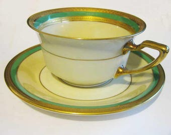 Vintage Rosenthal Gold Encrusted & Green Cup And Saucer Set #2698