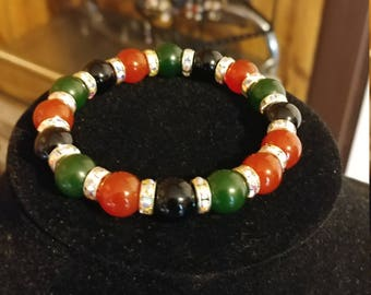 Onyx, Jade and Red Jade Bracelet