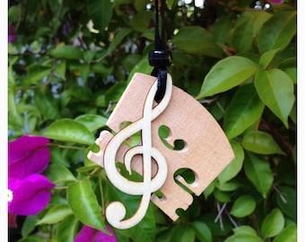 Wood Violin Bridge Ornament with Treble Clef Note