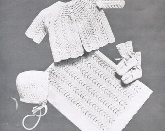 Baby openwork knitting pattern set PDF / Jacket, blanket, booties and cap knitting pattern / Vintage baby set pattern