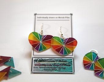 Rainbow Pride Heart Earrings! E is for Everyone!