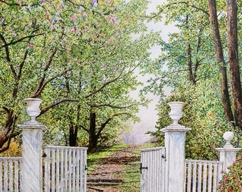 Nature Art - Landscape Painting - White Fence - Springtime Painting - Tree Painting - Green Leaves - Green Painting - Matted Print