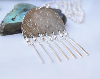 Silver fringe necklace