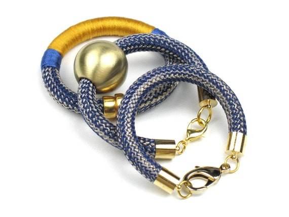 Climbing Cord Bracelet in Blue with Chunky Gold Striped Rope