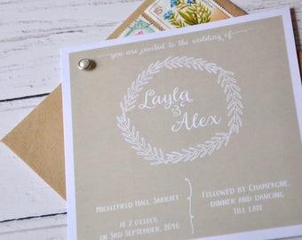 Rustic Wedding Invitation, Square Wedding Invitation, Pearl Wedding, Rustic Wedding Invite, Pearl Wedding, Invitation Rustic With Rsvp