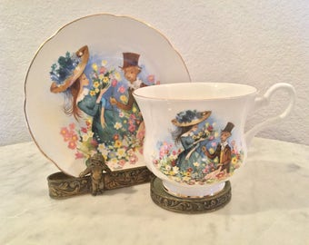 Vintage Royal Grafton Fine Bone China Teacup & Saucer Set With A Couple Courting On A Garden. Signed By Artist Foster. Made In England.