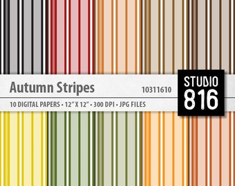 Autumn Stripes - Digital Paper for Scrapbooking, Cardmaking, Blogs, Papercrafts #10311610