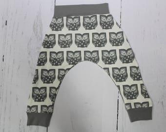 Hoot Grey Owl Harem Pants, Baby and Kids Harem Pant Leggings, Owl Pants, Baby Owls