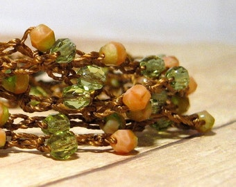 Beaded Wrap Bracelet,  Pink and Green Bohemian Jewelry, Crochet Beaded Bracelet, Boho Fashion, Wrap Around Bracelet, Crochet Bead Bracelet