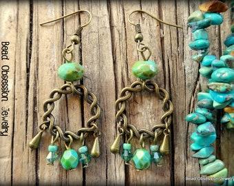 Earthy Earrings; Boho Earrings; Hippie Earrings; Bohemian Earrings; Gypsy Earrings; Rustic Earrings; Bead Earrings; Australian Seller