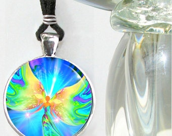 """Fairy Necklace, Pastel Angel Jewelry, Reiki Energy Pendant Necklace """"Ease"""""""