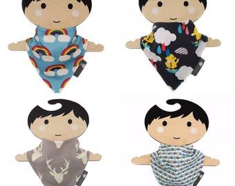 Bandana dribble bib, baby bib, organic cotton, rainbows, stags, baby gift, baby clothing, teething baby, modern babies, dribble
