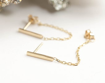 14k solid gold bar chain earrings, dangle chain earrings, bar earrings, yellow gold bar earrings with chain, rose gold, white gold, dainty