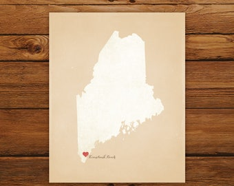 Customized Printable Maine State Map - DIGITAL FILE, Aged-Look Personalized Wall Art