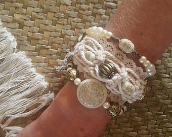 Beige multi strand bracelet