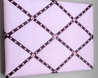"11""x14"" French Memory Board, Bow Holder, Bow Board, Vision Boad, Photograph Holder, Organizer, Pink & Brown Polka Dot"