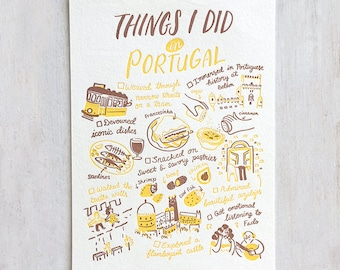 Things I Did in Portugal Letterpress Postcard