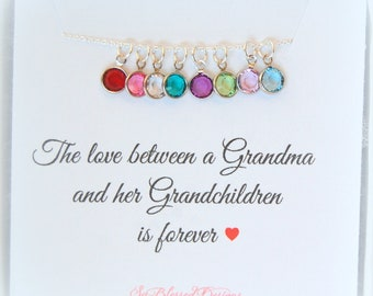 Gift for Grandma, Birthstone Charm Necklace, Grandma Gift, Grandmother necklace, Grandma gift from her grandchildren