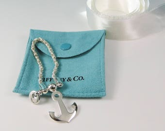 Tiffany & Co. Anchor Nautical Key Chain Sterling Silver Excellent