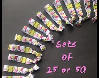 Softball Hair Ties - 25 or 50