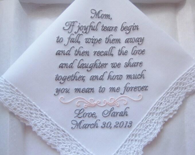 Mother of the Bride Custom Embroidered Personalized Wedding Handkerchief, Wedding Hankies, Wedding Handkerchiefs