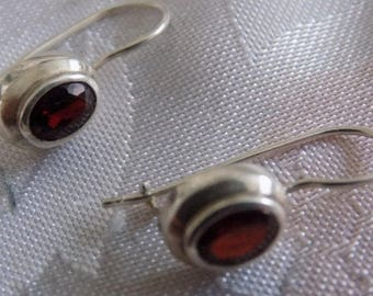 Vintage earrings, garnet and sterling silver drop earrings, marked 925, jewelry
