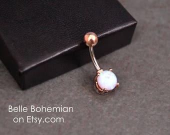 Belly Button Ring Fire Opal Light Blue Fire Opal Rose Gold Opal Belly Ring Opal Belly Jewelry 14G  Opal Navel Ring