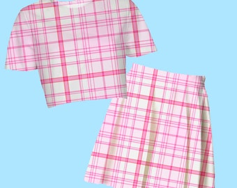 sugar plaid crop top or skater skirt | pastel kawaii neogal hipster 90s clueless cute sweet plus size