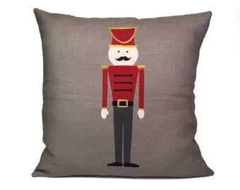 Lead Soldier Pillow, Hand Painted Pillow, Decorative Throw Pillow, Linen Cushion, Gift For Kids