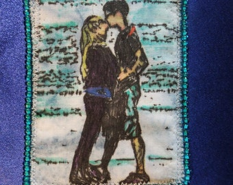 Tiny Art Quilt ATC Two Young People Kissing on the Beach