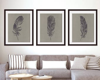Feathers (Series D3) Set of 3 - Art Prints (Featured in River Rock on Pale Gravel Silk) Nature Woodland Inspired