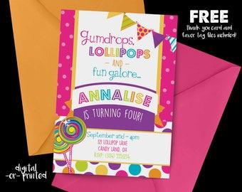 Candy Shop Birthday Invitation, First Birthday Invitation, Candy Birthday, Sweet Shop Invitation, Candy Shoppe, Sweet Shoppe, Rainbow