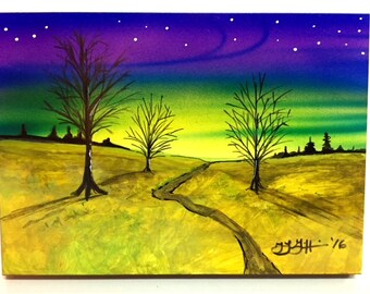 """Airbrushed Magnet Landscape Trees Woods 5"""" x 7"""" by Artist Teresa Griffin"""