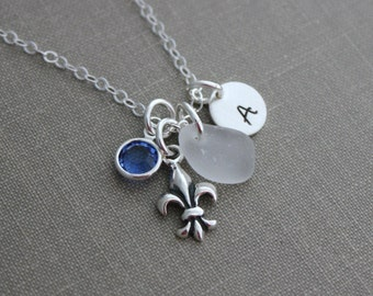 Sterling Silver Fleur De Lis  Genuine Sea Glass and Initial Charm Necklace, Swarovski Crystal Birthstone Lily, Personalized Mothers Necklace