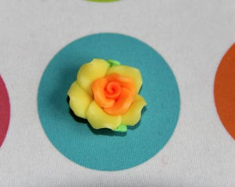 The Pearl flower yellow and orange polymer clay