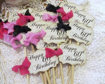 60th Birthday Parchment Cupcake Toppers Party Picks - Set of 18 - Choose Ribbon Color - Milestone Birthday