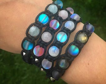 Healing Crystal Aura Shamballa Bracelets! Customizable with 20 different crystals to choose from!