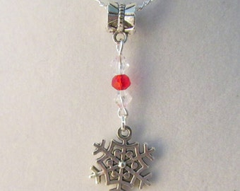 Snowflake Clear & Red 16in Silver Tone Necklace (CN3)