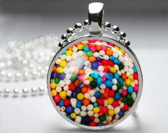 Candy Sprinkle Round Pendant Necklace with Silver Ball or Snake Chain Necklace or Key Ring