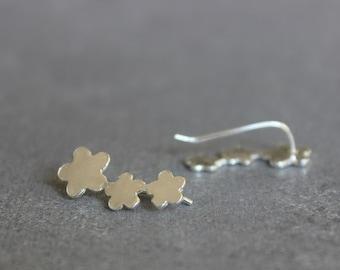Ear cuff, Flower ear climber, Flower earrings, Silver stud earrings, Climber earrings.